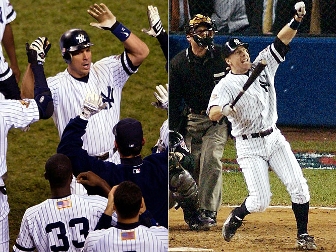In Game 4, with his team trailing 3-1 with two outs in the ninth, Tino Martinez hit a game-tying home run off Arizona closer Byung-Hyun Kim. An inning later, as the clock struck midnight to flip the calendar to November, Derek Jeter hit a solo shot off Kim for a 4-3 victory to tie the Series. The next night, it was Scott Brosius who hit a two-run, game-tying homer off Kim with two outs in the ninth. The Yankees won 3-2 on 12th-inning singles by Chuck Knoblauch and Alfonso Soriano.