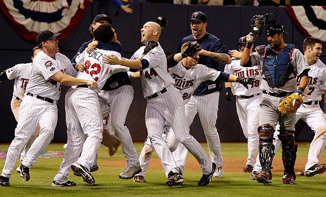 In game No. 163, the Tigers went ahead 3-0 on a third-inning homer by Miguel Cabrera, but Minnesota chipped away -- just as it had in erasing a late seven-game division deficit. Orlando Cabrera's two-run homer in the seventh put the Twins up 4-3, but Magglio Ordonez tied it with a solo shot leading off the eighth. The Tigers took the lead in the 10th, but the Twins tied it again following a leadoff triple by Michael Cuddyer. After the Tigers loaded the bases in the 12th but couldn't score, the Twins finally ended it -- and extended the baseball life of the Metrodome -- against Fernando Rodney on singles by slap-hitting in-game subs Carlos Gomez and Alexi Casilla.