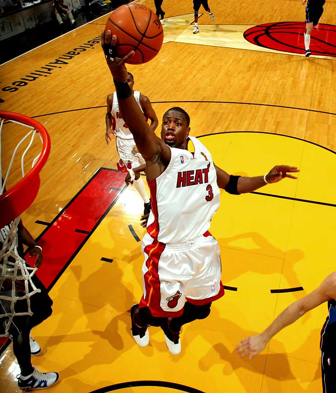 Already in a 2-0 hole in the NBA Finals, Miami trailed Dallas 89-76 midway through the fourth quarter of Game 3. But Wade scored 12 of his 42 points during a game-ending 22-7 run as Miami won 98-96, the first of its four consecutive victories en route to the franchise's first championship. Wade was named Finals MVP after averaging 34.7 points, 7.8 rebounds, 3.8 assists and 2.7 steals.