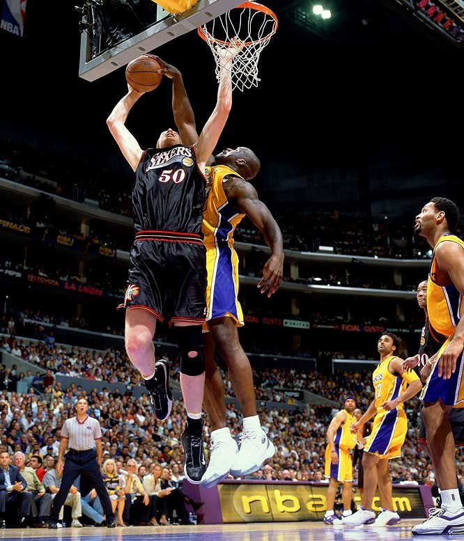 Shaq flirted with the first NBA Finals quadruple-double in finishing with 28 points, 20 rebounds, nine assists and eight blocks to lead the Lakers past the 76ers in Game 2, the first of four consecutive victories for L.A. O'Neal would win the second of three consecutive Finals MVPs.