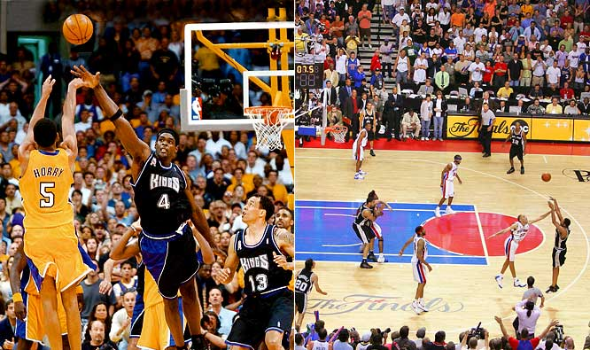 Call them Exhibits A and B in Robert Horry's case for being the best role-playing clutch shooter in NBA history. As a Laker in 2002, Horry nailed a buzzer-beating, top-of-the-key three-pointer for a series-tying 100-99 victory against the Kings, the signature moment of a riveting seven-game epic. As a Spur in 2005, Horry (21 points in final 17 minutes) took advantage of Rasheed Wallace's defensive lapse to knock down a three-pointer with 5.9 seconds left in OT to give San Antonio a 96-95 win and, again, a 3-2 series lead.