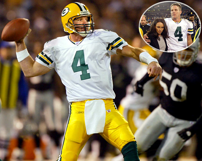 One day after his father died of a heart attack, Favre turned in arguably the most memorable performance of his iconic career. In a prime-time, nationally televised game in Oakland, he completed 22-of-30 passes for 399 yards and four touchdowns in Green Bay's 41-7 rout of the Raiders. Favre, who battled his emotions afterward, finished three yards shy of his career high and dealt Oakland its worst defeat in eight years.