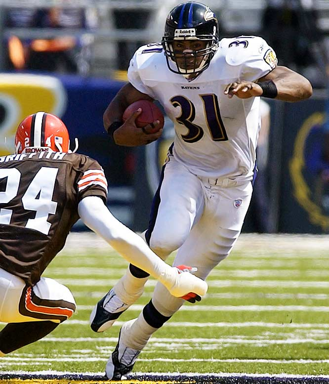 The single-game rushing record changed hands a few times this decade. Before Adrian Peterson established the current record of 296 yards in 2007, the Ravens' Lewis ran for one fewer yard in a 33-13 victory against the Browns to surpass Corey Dillon's mark of 278 set on Oct. 22, 2000. Lewis carried 30 times and had touchdown runs of 82 and 63 yards.