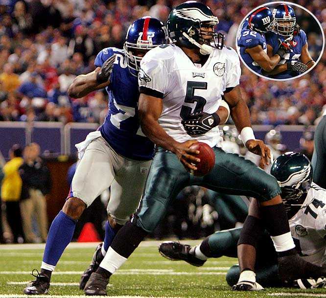 Umenyiora collected six of the Giants' record-tying 12 sacks in a 16-3 home victory against Donovan McNabb and the Eagles. ''It was like a video game out there,'' said Umenyiora, who finished one sack short of Derrick Thomas' NFL record.