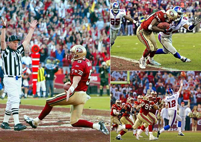 San Francisco staged the second-biggest comeback in playoff history, overcoming a 24-point deficit in a game that was as controversial as it was dramatic. The 49ers trailed 38-14 with four minutes left in the third quarter, then rallied for 25 straight points behind Jeff Garcia, who ran for one score and threw for two -- the last a 13-yard strike to Tai Steets with a minute to play. The Giants positioned themselves for a 41-yard field-goal attempt with six seconds left, but Trey Junkin's low snap set off a wild chain of events that culminated with holder Matt Allen throwing a desperation pass. New York was penalized for illegal men downfield, ending the game. The league later admitted the 49ers should have been called for pass interference, which would have resulted in a do-over.