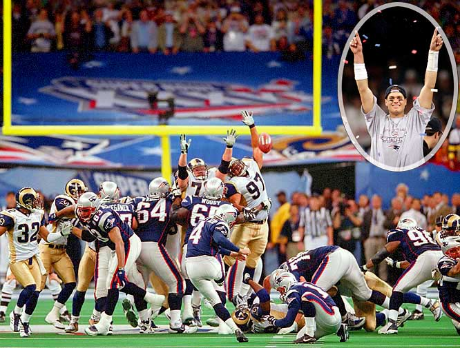 (Note: Games played in January 2000, which capped the 1999 season, were taken into account.)Some said it would take a perfect game to upset the defending Super Bowl champion Rams, and the Patriots played it. They were outgained 427-267 but forced three turnovers while not committing one of their own; equally important, New England converted those takeaways into 17 points. The game was decided by a 48-yard field goal as time expired, but there was drama throughout the fourth quarter as St. Louis rallied from a 17-3 deficit to tie the score with 1:30 to play. Patriots QB Tom Brady showed no nerves. With no timeouts, he completed three short passes before finding Troy Brown for 23 yards and Jermaine Wiggins for 16. He then spiked the ball to set the stage for Adam Vinatieri.
