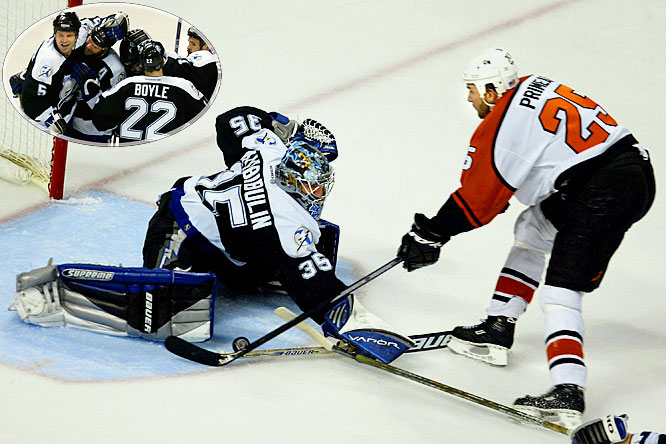 Clinging to a one-goal lead, Nikolai Khabibulin stopped the Flyers' Keith Primeau on a second-period breakaway and the Lightning hung on to win their first Game 7 and advance to their first Stanley Cup finals. Former Flyer Ruslan Fedotenko scored a deflected power-play goal at 16:46 of the first period and Frederik Modin netted the winner at 4:57 of the second.