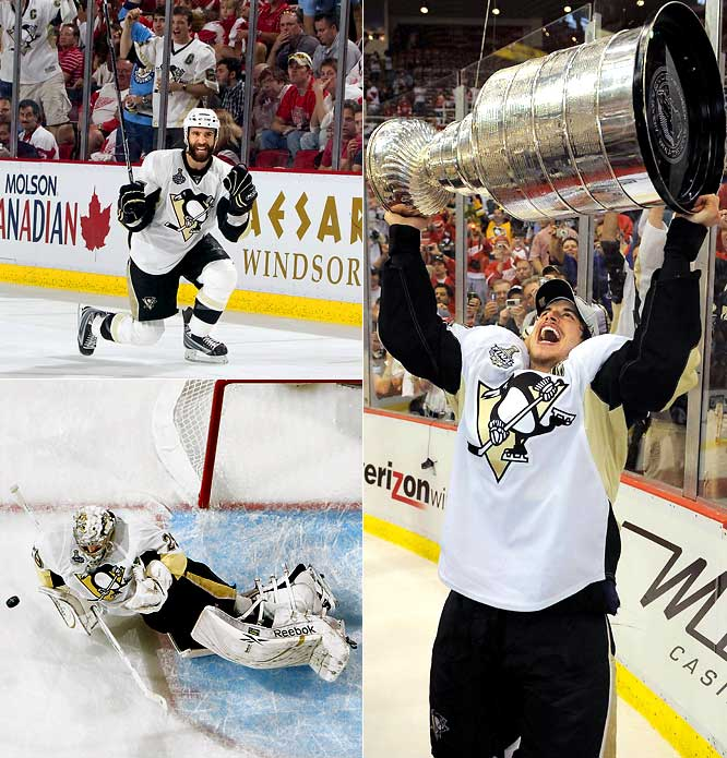 With Sidney Crosby on the bench for all but 32 seconds of the third period after being ridden into the boards by Detroit's Johan Franzen, the Penguins found a way to cap their comeback from series deficits of 2-0 and 3-2 against the defending Stanley Cup champs. Scrappy plugger Max Talbot joined the ranks of unexpected postseason heroes by scoring both Pittsburgh goals, and goaltender Marc-Andre Fleury secured the silverware with a clutch stop on Nicklas Lidstrom in the final seconds.
