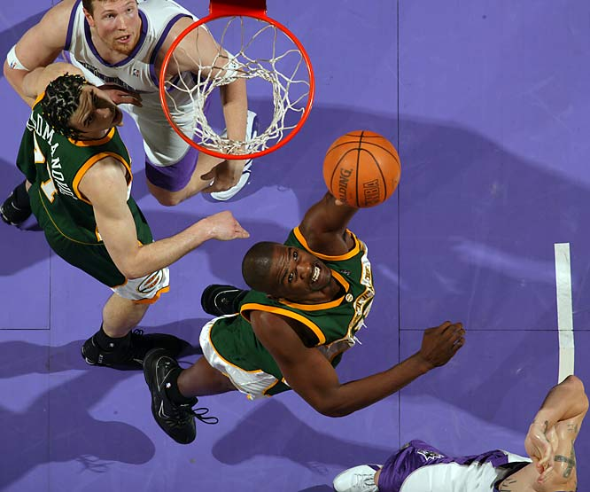 The Seattle 7-footer averaged 17.2 points and 9.4 rebounds in a playoff series against Sacramento, a rare show of production that helped the 29-year-old earn a five-year, $30 million contract from Isiah Thomas and the Knicks that offseason. James proved to be arguably the worst NBA free-signing of the decade, as he averaged 2.5 points and 1.8 rebounds in 89 games for New York before being traded to Chicago in February 2009.