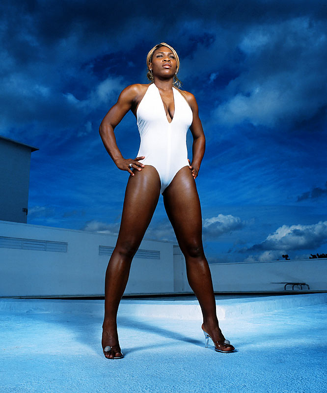"""""""Serena had wanted to pose -- a lot of times female athletes will query SI about posing for the swimsuit issue. Serena's really a terrific person, and she loves fashion, but she's not the easiest person to shoot. Her body is not like a model's. She is a high-performance athlete. She is big in a lot of areas in her body -- her chest, her back, her legs. She's a specimen. So I put her in heels and put a wide-angle lens on her. We make her look powerful. We can't turn her into a supermodel. But we can turn her into someone who's a great athlete and looks sexy, and that's what we try to do with athletes in the Swimsuit Issue."""""""
