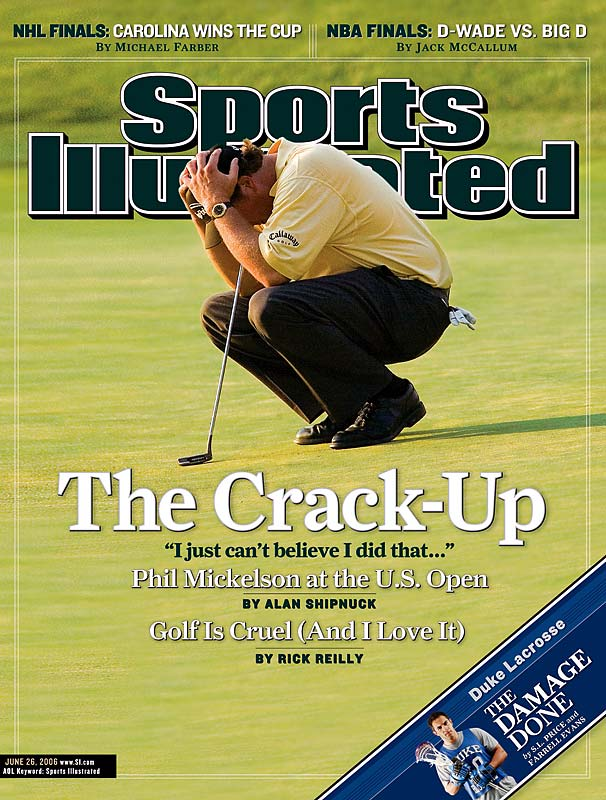 ''It was Father's Day in 2006 and Phil Mickelson had the U.S. Open sewn up going to the last hole. But it fell apart in a hurry. He was all over the 18th hole, and when the reality of his collapse began to sink in, he brought his hands to his head. It was devastating to watch, but it really drove home exactly how difficult it is to win one of golf's majors.''