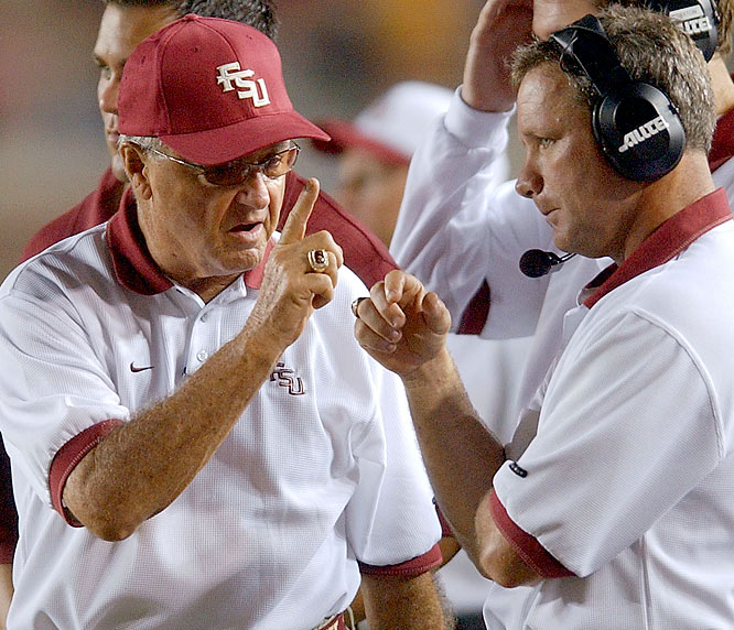 Bowden strikes a deal with FSU president Sandy D'Alemberte to allow him to skirt the university's anti-nepotism rule and hire his son, Jeff, as the Seminoles' offensive coordinator. During Jeff's five-year tenure as FSU's offensive coordinator, the Seminoles went from one of the nation's best offenses to one of the ACC's worst. When Bowden refused to fire his son, FSU boosters raised more than $500,000 to buy Jeff out. Jeff was still being paid by FSU this year when he served as a volunteer coach on brother Terry's staff at North Alabama.