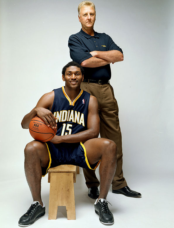 Bird poses with Ron Artest at an SI photo shoot for the 2005-06 NBA preview.