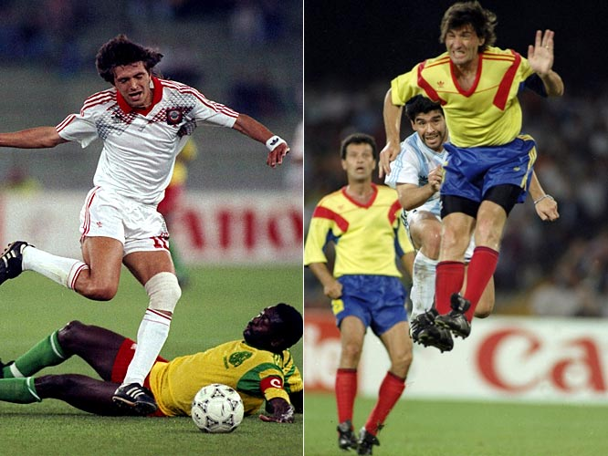 The first match of Italy '90 both symbolized and foreshadowed the shocking nature of Group B, which unpredictably became the Group of Death. Despite finishing the game with only nine men, Cameroon stunned defending champion Argentina 1-0 in the opener, and went on to win a tight group. Only two points separated the last-place USSR (competing for the last time as the Soviet Union) from first-place Cameroon, which was routed by the Soviets 4-0 in the final match of group play, demonstrating the parity of the table. The Africans' Roger Milla -- and his eccentric goal celebrations -- was the unlikely yet lovable star of a group that advanced three teams to the next round: group winner Cameroon, along with Romania and eventual Cup runner-up Argentina.