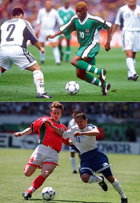 Having expanded from 24 to 32 teams at France '98, each group could now definitively only send its top two teams on to the second round. That made Group D all the more competitive, and several surprises ensued. Spain, the favorite, failed to advance despite posting the best goal differential in the group (plus-4), and the darling of the '94 Cup, Bulgaria, also went home. Group winner Nigeria and second place Paraguay proved the odds-makers wrong by advancing, though both were eliminated in the knockout stage.