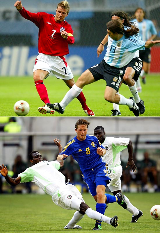 From the moment the tournament draw took place for Korea/Japan 2002, Group F was regarded incontrovertibly as the Group of Death. It lived up to its billing. No team won more than one game in arduous group play, and low-scoring ties were the name of the game, with just one match featuring more than two goals. Argentina had been the seeded squad and a title favorite, but an altogether mediocre showing spelled doom, a third-place finish and a flight back home. Nigeria, a group winner just four years earlier, managed just one point and plummeted to the bottom of the table in '02. Europe ruled Group F, with Sweden and David Beckham's (upper left) England tying on points and advancing to the second round, with Sweden winning the group on goals scored.