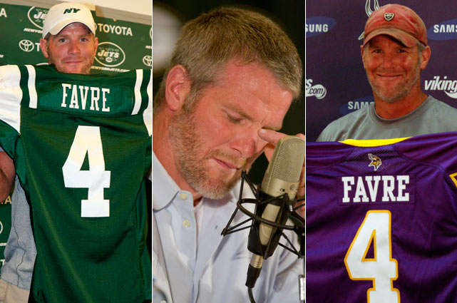 Few things in sports have irritated some fans as much as Favre's constant flirtations with retirement. Since 2002, he has talked several times about walking away from the game, only to return the following season. There was the March 4, 2008, announcement at a teary press conference, followed by his release from the Packers and signing with the Jets. Then came another retirement after the 2008 season, and the on-again, off-again courtship by Minnesota that resulted in a two-year contract for the recently concluded 2009 season.