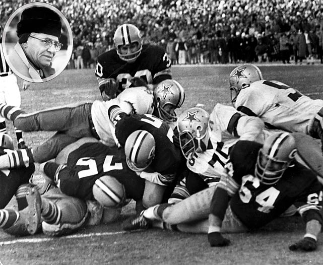 Four fans had heart attacks in the stands. Nearly two dozen were hospitalized and treated for exposure in minus-45 wind chill temperatures. One fan died. If the Ice Bowl were allowed to happen today, there's a good chance the NFL would be sued. And if Vince Lombardi's call of a quarterback sneak with 16-seconds remaining and no timeouts happened today -- and failed -- he likely would be fired by Monday morning. Instead, he has his name on the most recognizable trophy in American sports. Times change, but the legend of the Ice Bowl never will. Bart Starr sneaks it behind Jerry Kramer. Ballgame.