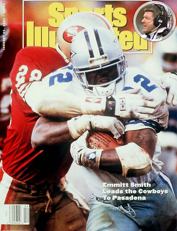 """Ever wonder where Jimmy Johnson's """"How `bout dem Cowboys!"""" giddy howl came from? It was after this one, in a joyous Cowboys locker room. And it was well deserved. The Cowboys set up their 1990s dynasty in protypical style, choking the life -- and the football -- out of the 49ers defensively and making big plays offensively. Dallas forced four crucial turnovers and got huge games out of Emmitt Smith, Troy Aikman and Michael Irvin."""
