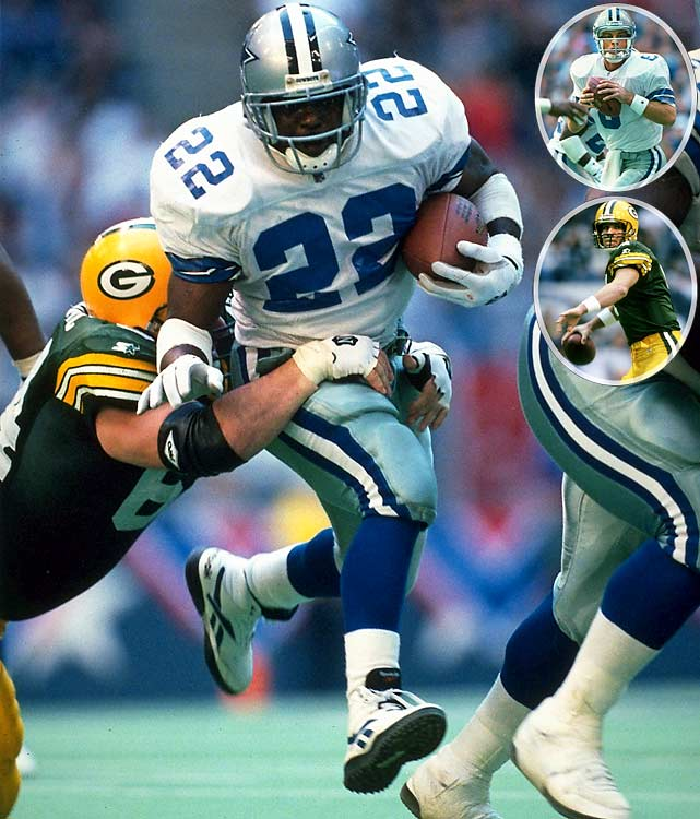The stars did what stars do. Troy Aikman and Brett Favre engaged in an epic back-and-forth battle. Emmitt Smith romped for three touchdown runs and Michael Irvin had more than 100 yards receiving and a pair of TDs. Favre brought his team from behind and took a late lead. But interestingly and often forgotten: Before little-known Larry Brown became Super Bowl MVP with a pair of picks two weeks later, he sealed the win in this one with an interception and 28-yard run prior to Smith's winning score.