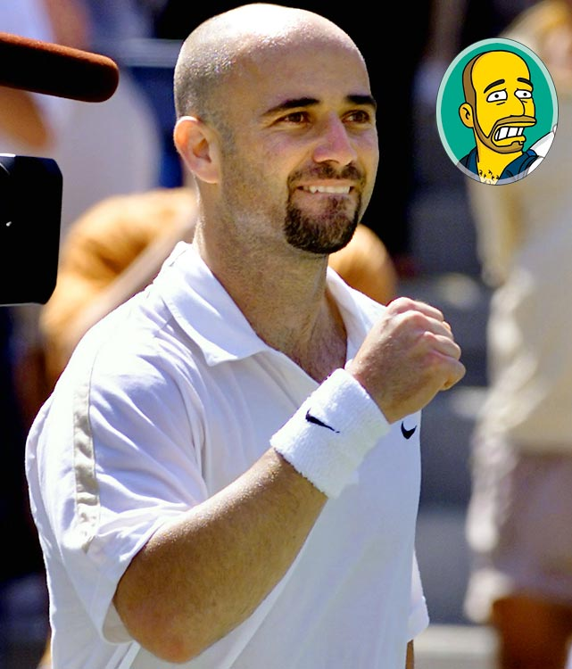 Episode: Tennis the Menace First aired: Feb. 11, 2001 Memorable moment: Agassi: [grabbing Homer's tennis racquet] Yoink! Homer: My tennis stick! [turns to face Agassi] Who are you? Agassi: I'm Andre Agassi. Homer: The wrestler?