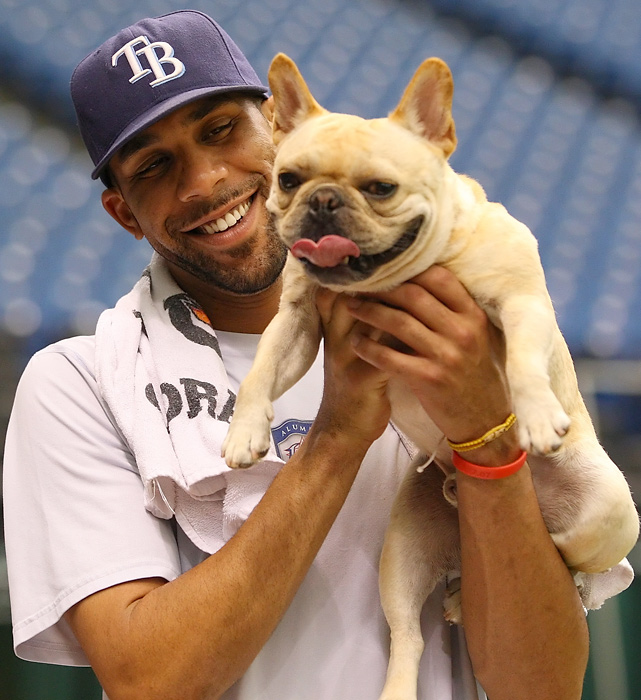 Rays pitcher David Price plays with his dog Astro before a home game against Seattle.