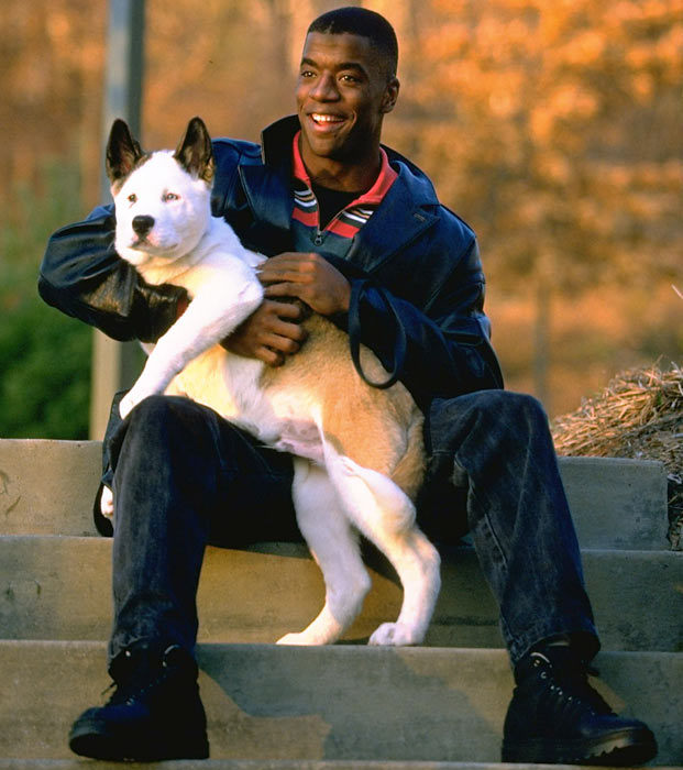 Kordell Stewart and his dog strike a pose during a 1995 photo shoot.