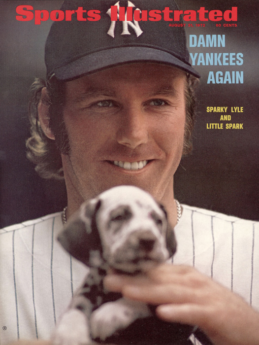 Sparky Lyle and his puppy pose for this Aug. 1972 cover.