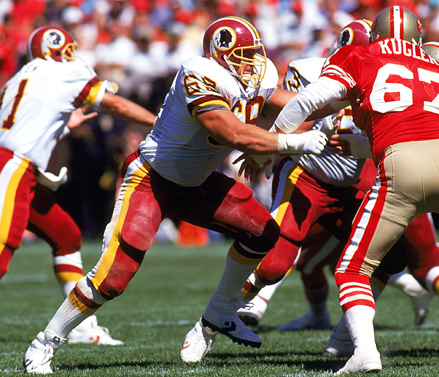 """Grimm is the first member of the Redskins' famed """"Hogs"""" to make the Hall of Fame. In his illustrious career, the converted O-guard won three Super Bowl rings and made the Pro Bowl in four consecutive seasons (1983-86). Grimm is also a member of the 1980s All-Decade Team."""