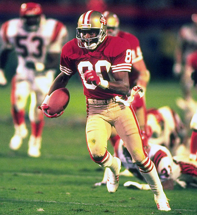 Arguably the greatest player in NFL history, Jerry Rice owns virtually every receiving record -- including receiving yards (22,895), receptions (1,549), 1,000-yard seasons (14), touchdowns (208) and net yards (23,546). He also owns three Super Bowl rings, including one MVP (Super Bowl XXIII).