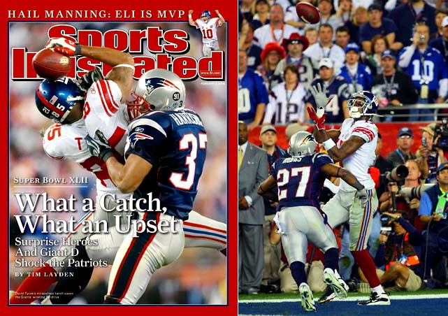 When arguably the greatest play in Super Bowl history is crucial to the winning drive against an undefeated, seemingly invincible team, you've got a valid case for this one being the best ever. After New England took a 14-10 lead late in the fourth quarter, Eli Manning led the Giants on a gritty 12-play, 83-yard drive in the final minutes. It included his improbable escape from the clutches of the Patriots pass rush and 32-yard heave that David Tyree somehow caught and held to his helmet as he was tackled by Rodney Harrison. Four plays later, Plaxico Burress caught the winning TD with 35 seconds on the clock, ending New England's dream of 19-0 perfection.