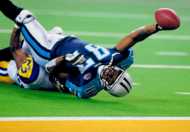 Kurt Warner and the Rams' Greatest Show On Turf offense were leading 16-0 in the third quarter when Steve McNair rallied his Titans, who tied the score at 16 with 2:12 left in the game. Warner responded with a TD bomb to Isaac Bruce on the Rams' next play. McNair refused to give in, driving the Titans to the Rams' 10 with six seconds remaining. Wide receiver Kevin Dyson caught a pass at the five, but fell an agonizing half-yard short of the goal line as Rams linebacker Mike Jones, in one of the Super Bowl's great defensive plays, made the game-saving tackle as time expired.