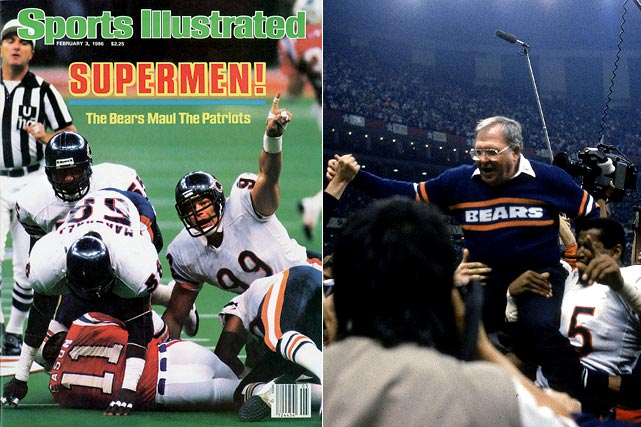 """The Bears did their Super Bowl shuffle all over the Patriots in a display of pure domination. Buddy Ryan's vaunted 46 Defense limited the Pats to just 123 yards for the game and New England made only one of their 10 third-down conversions. Fans weren't even treated to the great Walter Payton rushing for a touchdown. Jim McMahon, Matt Suhey and even defensive tackle William """"The Refrigerator"""" Perry did the honors instead."""