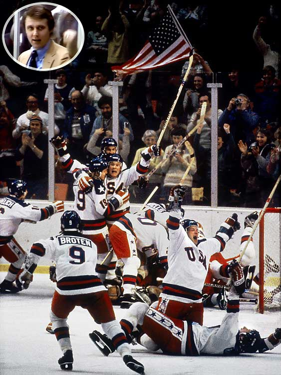 """On February 22, 1980, the """"Miracle on Ice"""" took place during a medal-round men's ice hockey game between the United States and Soviet Union at the Winter Olympics in Lake Placid, New York. The U.S. team, made up of amateur and collegiate players and led by coach Herb Brooks (inset), defeated the Soviet team, which was considered the best hockey team in the world, in what is widely regarded as one of the greatest upsets in sports history."""