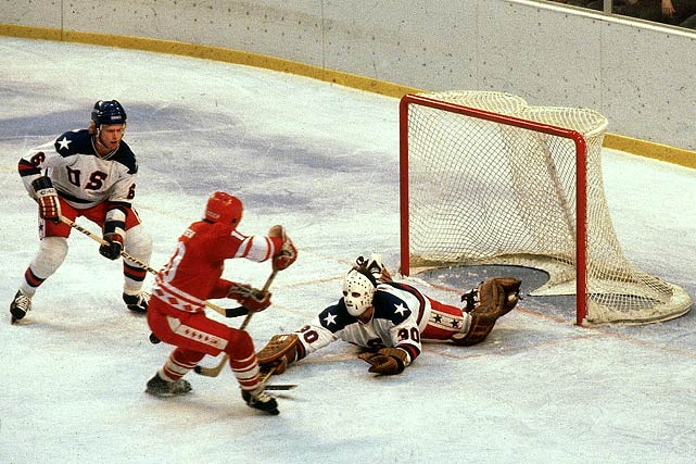 The Soviets dominated play in the second period, outshooting the Americans 12-2, but scored only once, on a power play goal by Aleksandr Maltsev.