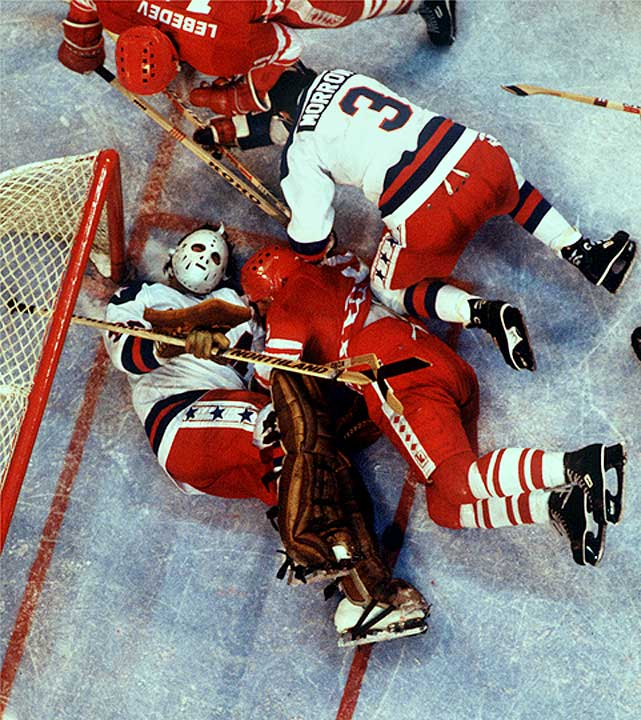 The Russians attacked furiously following Eruzione's goal, but Jim Craig held strong.  In the end, Craig stopped 36 of 39 shots on goal as the U.S. defeated the Soviets 4-3.