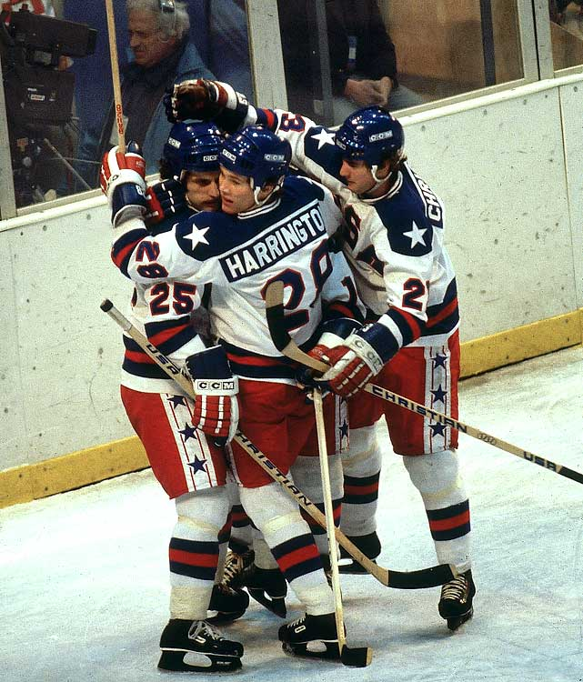 Buzz Schneider (left) scored for the United States to tie the game less than five minutes later.
