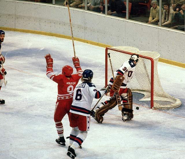 Vladimir Krutov deflected a slap shot by Aleksei Kasatonov past U.S. netminder Jim Craig to give the Soviets a 1-0 lead halfway through the first period.