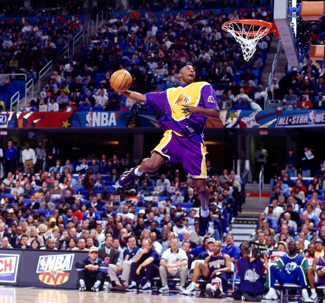 Another day in the life of Kobe Bryant. This one during the 1997 All-Star Game. He won the dunk contest off slams like this.