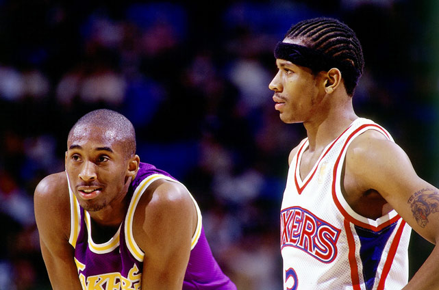 Kobe and Philadelphia's Allen Iverson chat it up during a game at the Great Western Forum in 1997.