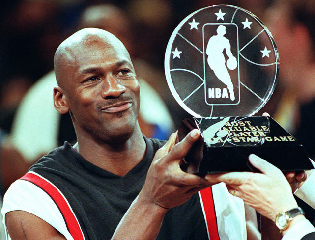 Michael Jordan scores 23 points, grabs six rebounds and dishes a team-high eight assists on way to being named the 1998 NBA All-Star Game MVP. Jordan became the oldest All-Star Game MVP, winning the award nine days before his 35th birthday.