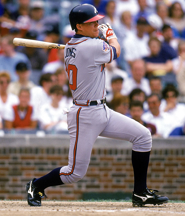 A mainstay of the Braves for 15 seasons, Jones made his debut as the youngest player in the league in 1993. A torn ACL put him out of commission for the 1994 season, but he quickly rallied. He's been named to six All-Star teams, won the NL MVP award in 1999 and will go down in history as one of the best switch hitters ever.