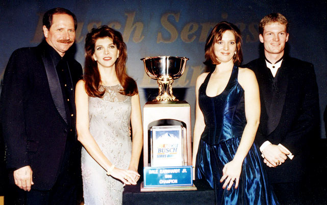 Seen here receiving the Busch Series Championship Cup, Junior would go on to win the title again in 1999.