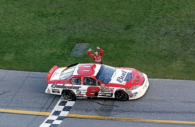 """Six years to the day that """"The Intimidator"""" took the top spot in NASCAR's biggest race, Junior won the Daytona 500 on his fifth try. """"[My dad] was over in the passenger side with me,"""" Earnhardt, Jr. would say after the race. """"I'm sure he was having a blast."""""""