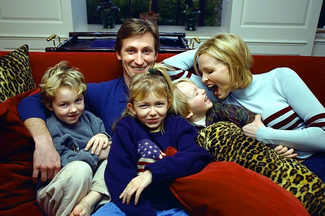 By 1997, Gretzky had moved on to the New York Rangers after a brief stay with St. Louis. This is a New York Daily News archive photo of the Great One and his family: wife Janet and their kids Trevor, Pauline and Ty.