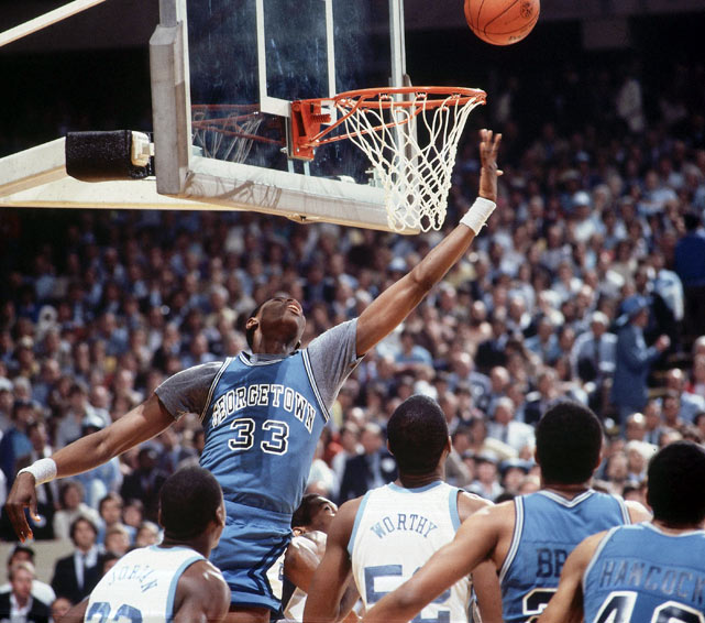 Ewing led his Hoyas to the national championship game against North Carolina. He was famously called for goaltending on each of North Carolina's first five shots, sending a message that he was in control of the paint.