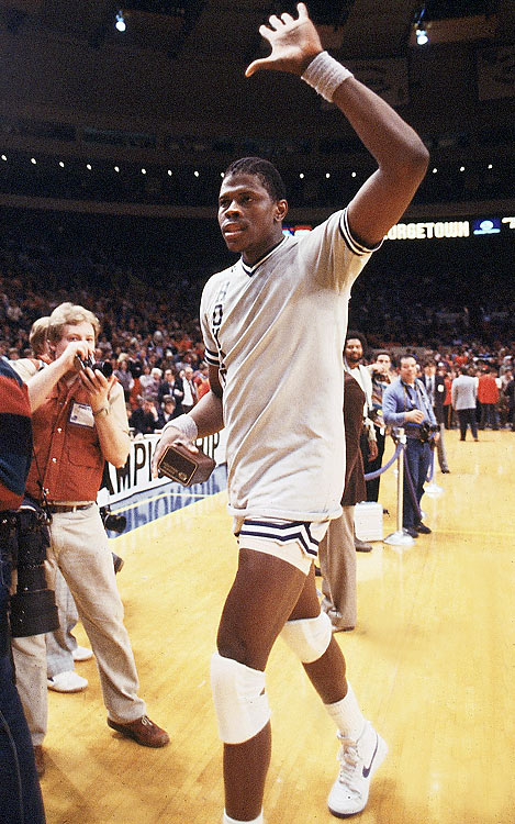 Georgetown easily swept through the 1984 Big East Tournament, defeating Syracuse in the finals. Ewing is shown here with his MVP trophy.