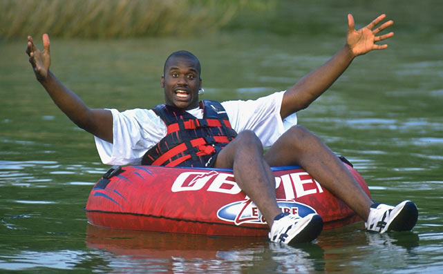 Shaquille O'Neal goes tubing in the lake of his Orlando home.