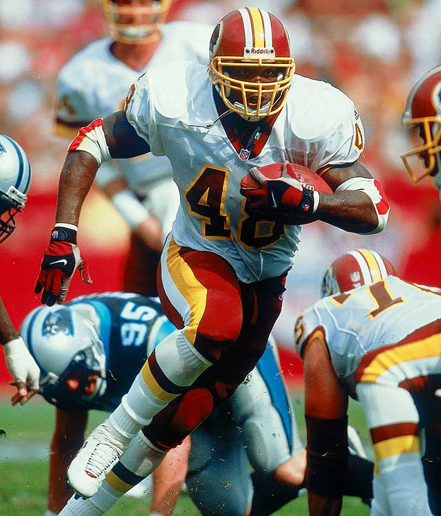 Davis didn't get a chance to work out at the Combine because of a knee injury, which helps explain how he feel to the fourth round. His breakout season came in 1999 when he led the NFC with 1,045 yards. In 2001, he set Washington's single-season record for rushing yards (1,432). Davis went to Carolina in '03 setting a personal-best mark with 1,444 yards rushing.
