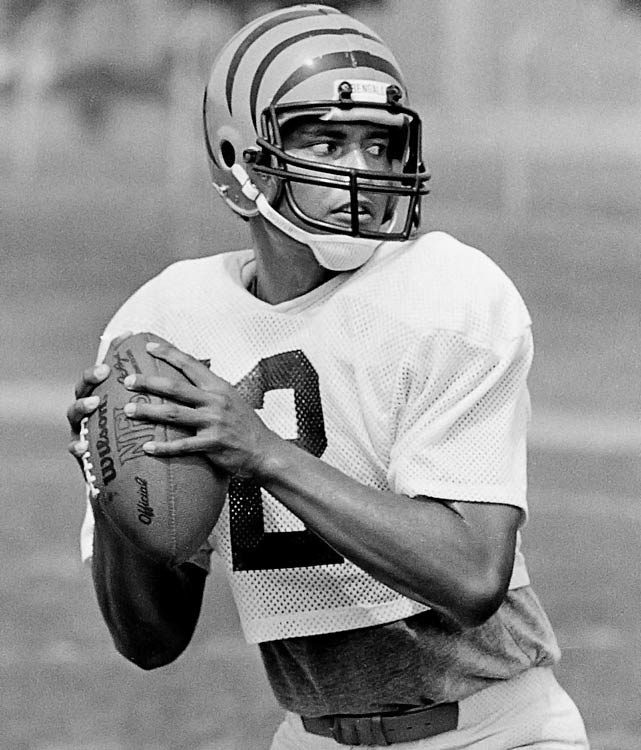 """Nicknamed """"The Throwin' Samoan"""" in his college days at Washington State, Thompson went third overall to the Bengals but played sparingly behind starter Ken Anderson. In four seasons with Cincinnati, Thompson started just five games, but threw 19 interceptions. Even when he was given the starting job after a trade to Tampa Bay in 1983, Thompson struggled to make an impact. He finished his career with a 4-17 record as a starter."""
